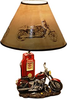 Ebros Vintage Retro Red Motorcycle By Classic Gas Pump Desktop Table Lamp 19