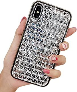 KERZZIL iPhone Xs Max Case, Handmade Bling Glitter Shiny Diamond Rhinestone Case for Girls and Women, Protective TPU Cover Cases for Apple iPhone Xs Max 6.5Inch (Silver)