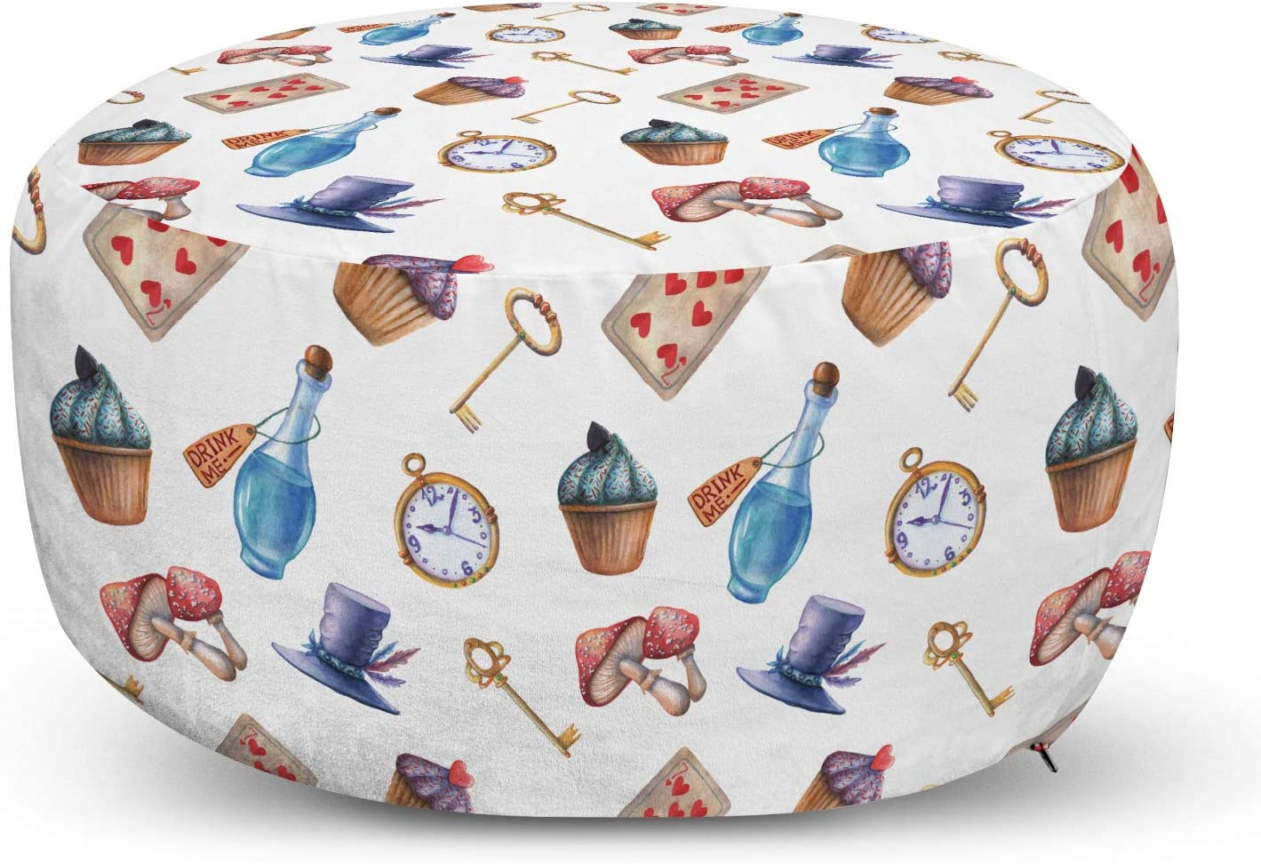 Lunarable Outstanding Alice in Wonderland Ottoman a Dealing full price reduction Pouf Mushrooms Cupcakes