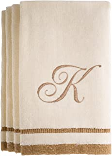 Monogrammed Gifts, Fingertip Towels, 11 x 18 Inches - Set of 4- Decorative Golden Brown Embroidered Towel - Extra Absorbent 100% Cotton- Personalized Gift- for Bathroom/Kitchen- Initial K (Ivory)