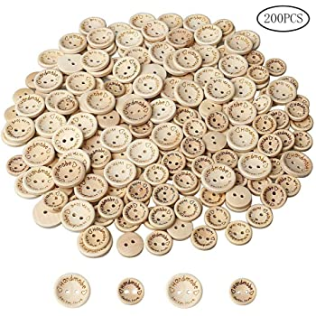 nuosen 200 Pieces Handmade Love Wooden Buttons, Delicate Round Wood Buttons for Sewing and Crafting Decorations, 15 MM & 20 MM