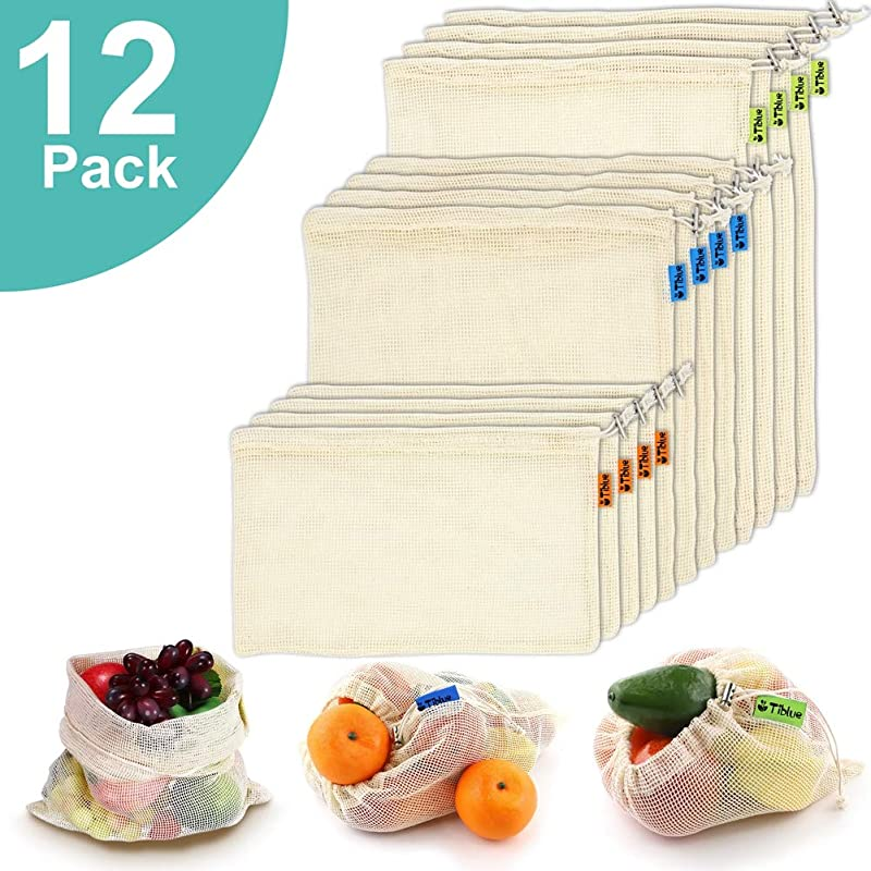 Reusable Produce Bags Organic Cotton Mesh Bags For Grocery Shopping And Storage With Tare Weight On Tags Double Stitched Seams Machine Washable Biodegradable Eco Friendly Set Of 12 4S 4M 4L