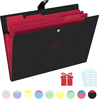 Phyxin Expanding File Folders 5 Pockets Document Organizer A4 Letter Size Plastic File Folder with Lables Document Holder for Business School Supplies Black