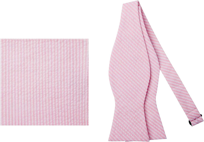 Jacob Alexander Seersucker Men's Self-Tie Bow Tie and Pocket Square Set