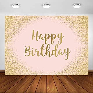 Aperturee 7x5ft Rose Gold 15th 18th 21st Happy Birthday Backdrop Glittering Pink Bday Photography Background Women Girls Sweet 16th Party Banner Dessert Table Decorations Photo Booth Studio Props