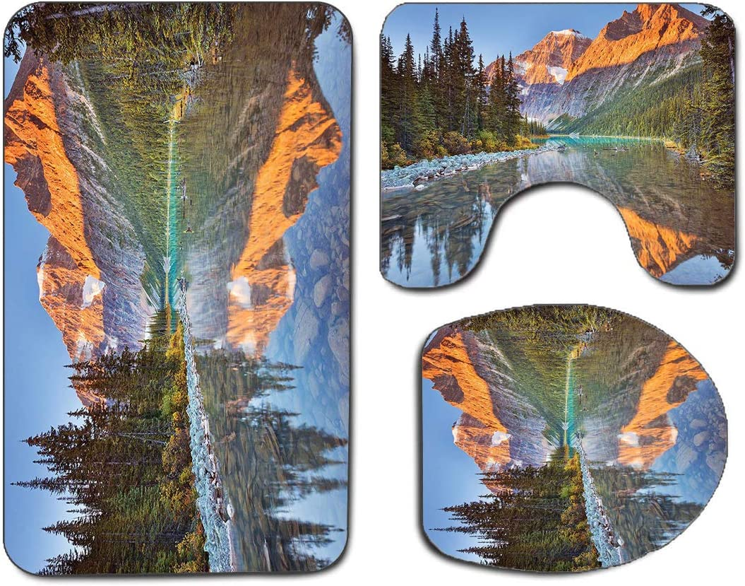 3Pcs Non-Slip Bathroom Rug Toilet Seat Lid Cover Set National Parks Soft Skidproof Bath Mat Canadian Rocky Mountain Range on Edith Cavell Lake Pastoral Image,Brown Yellow Absorbent Doormat Bedroom Liv