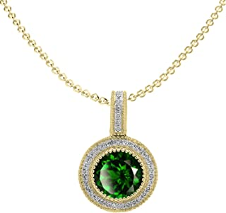 Dazzlingrock Collection 18K 7 MM Round Lab Created Gemstone & Diamond Halo Style Pendant (Gold Chain Included), Yellow Gold