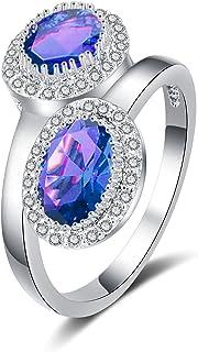 BAYAM 双石由您的侧光环锆石宝石戒指 14K 白金镀光环订婚结婚戒指 女士