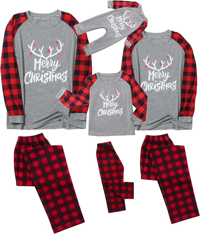 Christmas Pajamas for Family Long Ne Crew Sleeve Print Max 45% Daily bargain sale OFF
