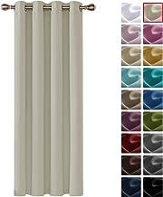 Deconovo Cortinas de Salón y Dormitorio Moderno Opacas Termicas Aislantes 1 Pieza 140 x 260 cm Beige Claro