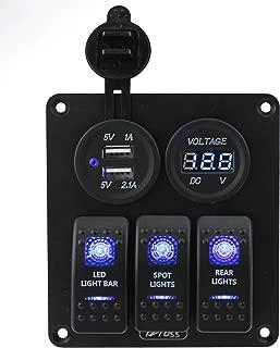 IZTOSS 3 Gang Rocker Switch Panel with Power Socket 3.1A Dual USB Wiring Kits DC12V/24V for Marine Boat Car Rv Vehicles Truck Blue led S721-722-B