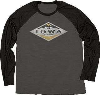 NCAA Iowa Hawkeyes Ring Spun Long Sleeve Raglan Tee, Large, Black