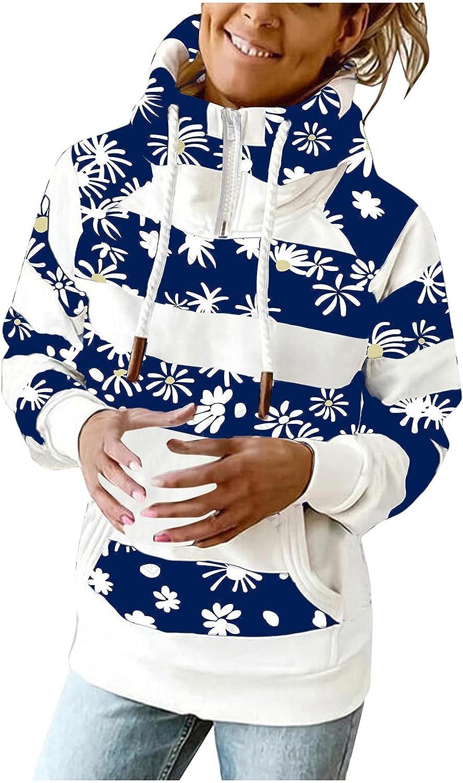Women's Striped Color Block Hoodies Sweatshirt, Ladies Stripe Snowflake Print Long Sleeve Drawstring Hooded Pullover