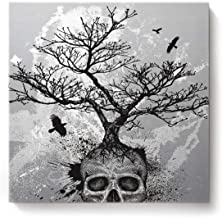 Canvas Wall Art Square Artworks for Bedroom Living Room Home Decor,Black and White Skull Head Tree Pattern Artwork for Wall,Stretched by Wooden Frame,Ready to Hang,16 x 16 Inch