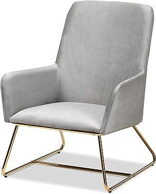 Baxton Studio Chairs, Grey/Gold
