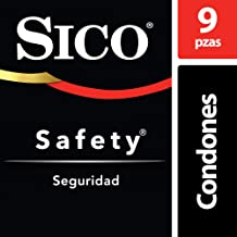 Condones de Látex Lubricados, Sico Safety, Color Natural,  Cartera con 9 Piezas