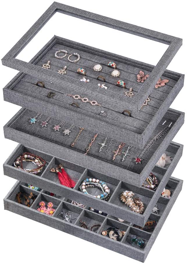 Coward 5% OFF Set of 5 Stackable Jewelry Tray Necklace Organizer cheap Earrin