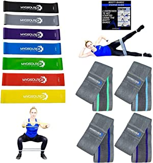 Booty Glute Bands for Women – Fabric Hip Resistance Bands for Legs and Butt, Set of 4 – Elastic Mini Rubber Loop Exercise Bands, Set of 7 – Home Fitness, Crossfit, Strength Training