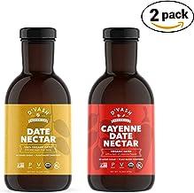 D'vash Organic Date Syrup 2 Pack, (1) 16.6oz Bottle Organic Date Nectar (1) 16.6oz Bottle Cayenne Date Nectar, Vegan, Glut...