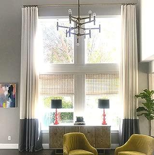 Ikiriska Extra Long Luxury Solid Linen Curtain White Off/Gray Custom Made 9 10 11 12 13 14 15 16 17 18 20 24 feet 9 ft Wide 2 Story Drapes Free Swatch (11 feet)
