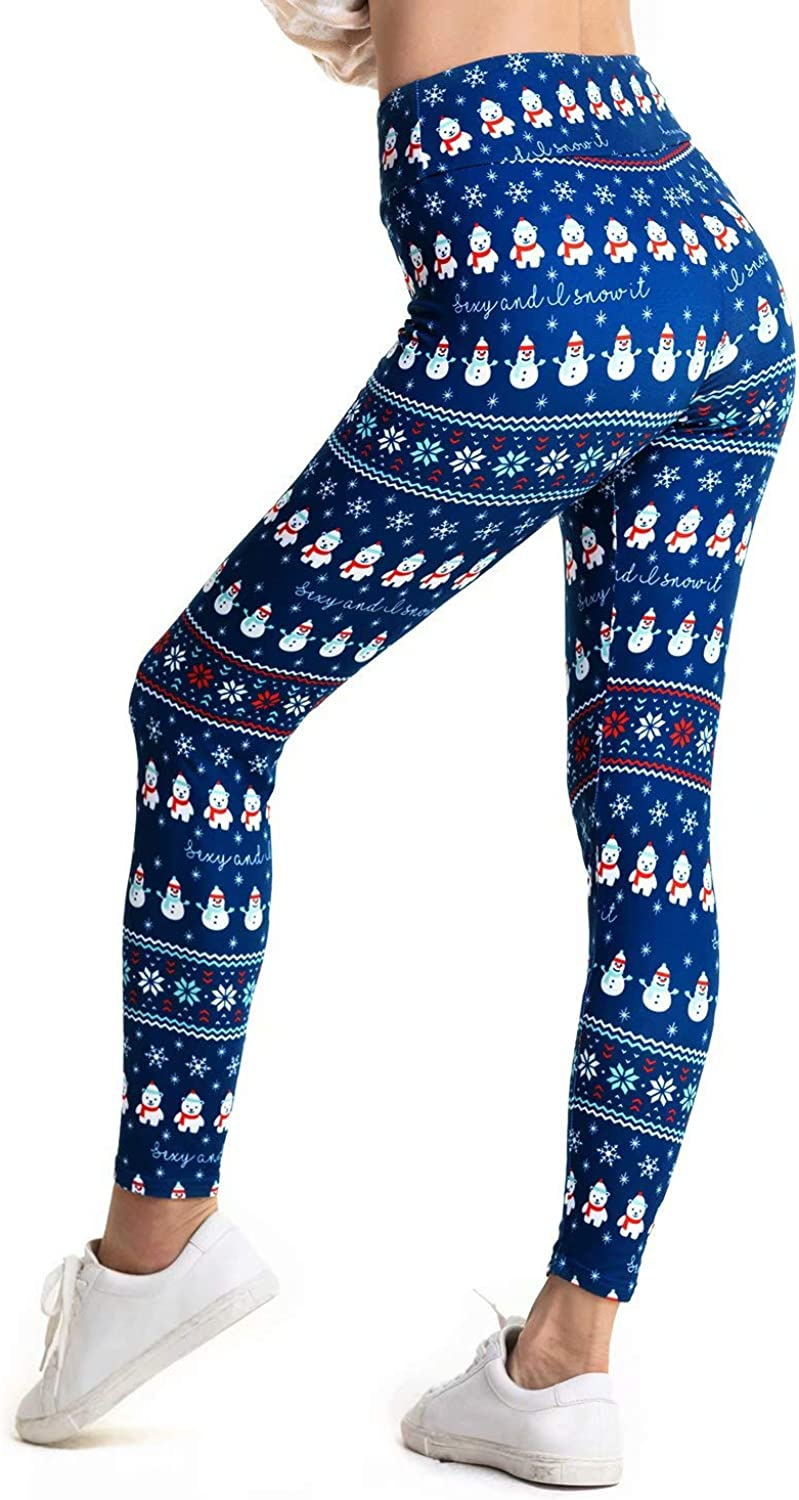 Super Soft and Stretchy Womens Ugly Christmas Leggings High Waist Xmas Tights All Match Style in Ankle Length