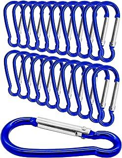 Outdoor Saxx® - 20 piezas Mini Mosquetón, mosquetón de aluminio, mosquetón en S, gancho de mosquetón para fijación de equipos en la mochila, cinturón, tienda, canoa, 5,8 cm, 20 unidades, color azul