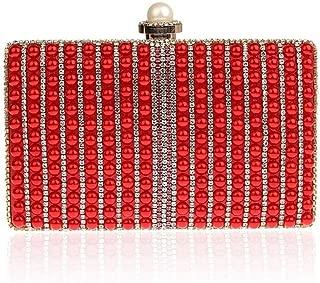 Redland Art Women's Fashion Sparkly Mini Clutch Bag Wristlet Evening Handbag Catching Purse Bag for Wedding Party (Color : Red)