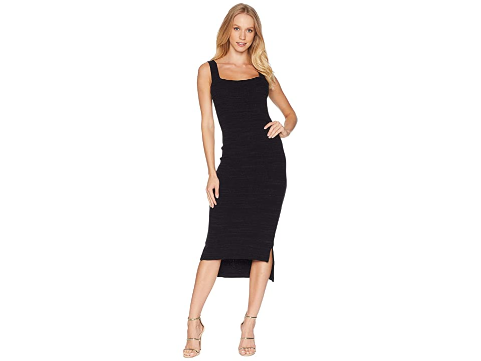 LNA Julia Slub Sweater Dress (Black Heather) Women
