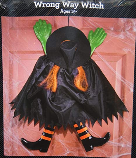 Amazon Com Wrong Way Witch Crashing Witch Wall Or Door Halloween Decoration 20 In Long Orange Home Kitchen