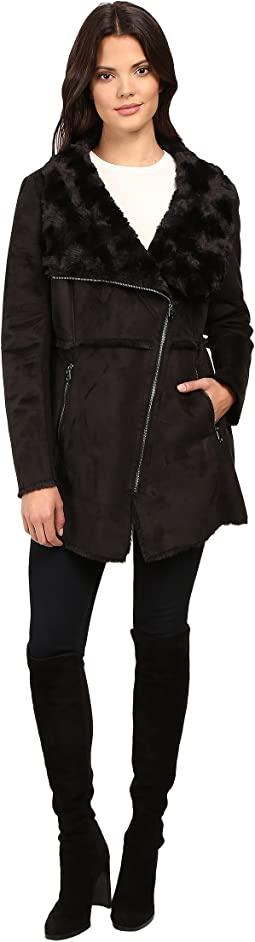Faux Shearling Moto Jacket with Asymmetrical Zip