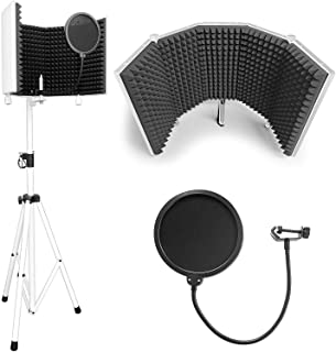 """AxcessAbles SF-101KIT-W Half Dome 32.5""""Wx13""""H (422sq inch) Recording Podcast Microphone Isolation Shield with Tripod Stand (White) 4' to 6' 6"""" Height Stand Compatible w/Blue Yeti, AT2020, AKG, Rode"""