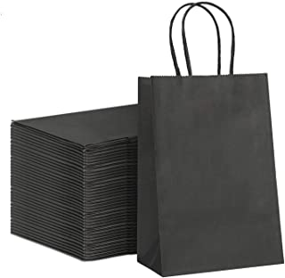 """Best GSSUSA Black Gift Bags 5.25x3.75x8""""100Pcs GSSUSA Kraft Paper Bag,Party Bags,Retail Bags,Shopping Bags,Brown Paper Bags with Handles 100% Recyclable Paper Review"""