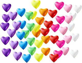 """12"""" Rainbow Latex Helium Heart Shaped Colorful Balloons, Multicolor Wedding Bride Baby Shower Birthday Party Decorations B..."""