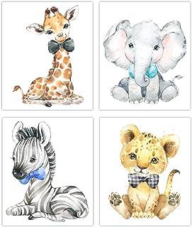Designs by Maria Inc. Safari Babies Watercolor Animals Prints Set of 4 (Unframed) Nursery Decor Art (8x10) (Option 3)