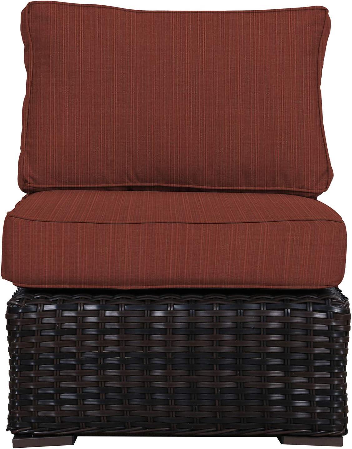 Amazon Com Envelor Santa Monica Outdoor Patio Furniture Wicker Rattan Middle Of Sectional Includes Burgundy Sunbrella Cushions Garden Outdoor