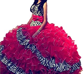 red zebra print quinceanera dresses