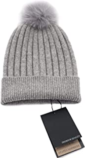 State Cashmere Real Fur Pom-Pom Hat 100% Pure Cashmere Cuffed Beanie - Ultimately Soft and Warm