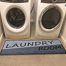 USTIDE Dark Gray Laundry Room Runner,20X48 Long Mat Wash Dry Fold Decor Stain Resistant Non-Slip Natural Rubber Backed Gar...