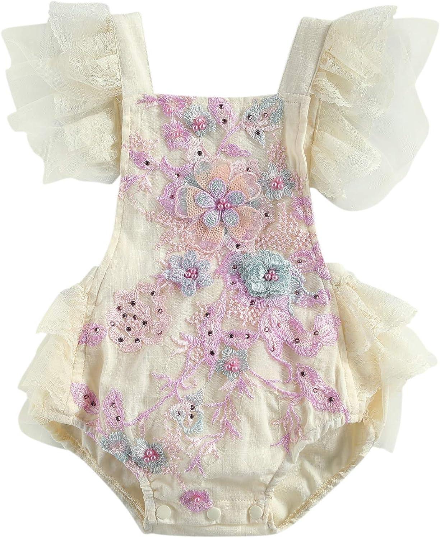 Newborn Baby Girls Lace Tulle Cash special price Flower Sleeveless Rare Bo Halter Romper