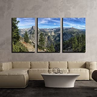 wall26 - 3 Piece Canvas Wall Art - Mountain Panorama Peaks,Yosemite National Park, California,USA - Modern Home Decor Stretched and Framed Ready to Hang - 24