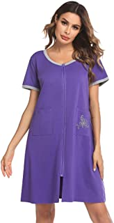 Ekouaer Women Robes Zipper Front Short Sleeve Full Length Housecoat with Pockets Plaid Loungewear