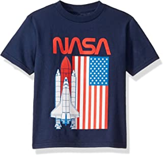 Freeze Unisex-Child N3SD132-02T NASA Space Shuttle USA Flag Short Sleeve Tshirt - Toddlers Short Sleeve T-Shirt - Blue