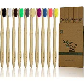 Natural Bamboo Toothbrush Made with Rainbow Nylon Infused Bristles in Recyc I5G8