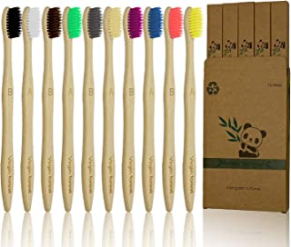 10 Pcs Soft Bristles Bamboo Toothbrush, Natural Eco Friendly Biodegradable Charcoal Wood Tooth Brushes