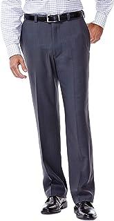 Men's eCLo Stria Expandable-Waist Plain-Front Dress Pant