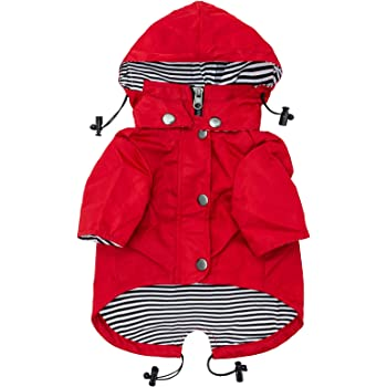 Ellie Dog Wear Red Zip Up Dog Raincoat with Reflective Buttons, Pockets, Water Resistant, Adjustable Drawstring, Removable Hoodie - Size XS to XXL Available - Stylish Premium Dog Raincoats