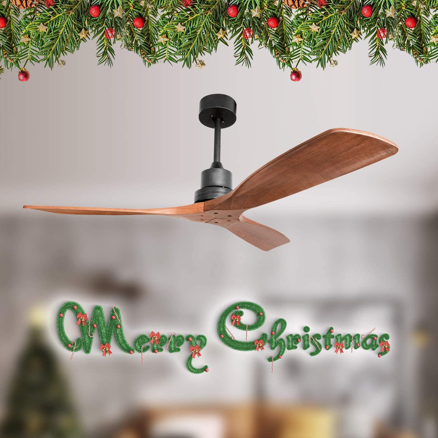 Sofucor Wood Ceiling Fan With Lights 3 Carved Wood Fan Blade Ceiling Fans Noiseless Motor Solid Walnut And Matte Black Tools Home Improvement Ceiling Fans Accessories Mhiberlin De