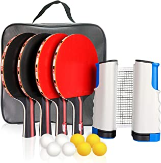 Fostoy Ping Pong Paddle,Ping Pong Paddles Set of 4 Ping Pong Paddles and 8 Table Tennis Balls, Retractable Net, Storage Bag, Perfect for Professional&Recreational Games - 2 or 4 Players (red)