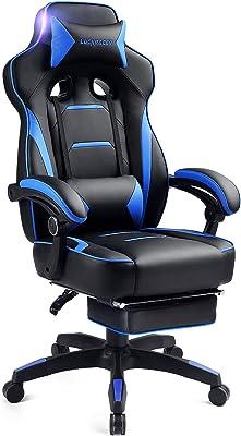 LUCKRACER ゲーミングチェア オットマン ゲーム用チェア オフィスチェア パソコンチェア 伸縮可能のフットレスト リクライニングチェア 機能腰痛対策 調節可能ランバーサポート ブルー (F59-BLUE)