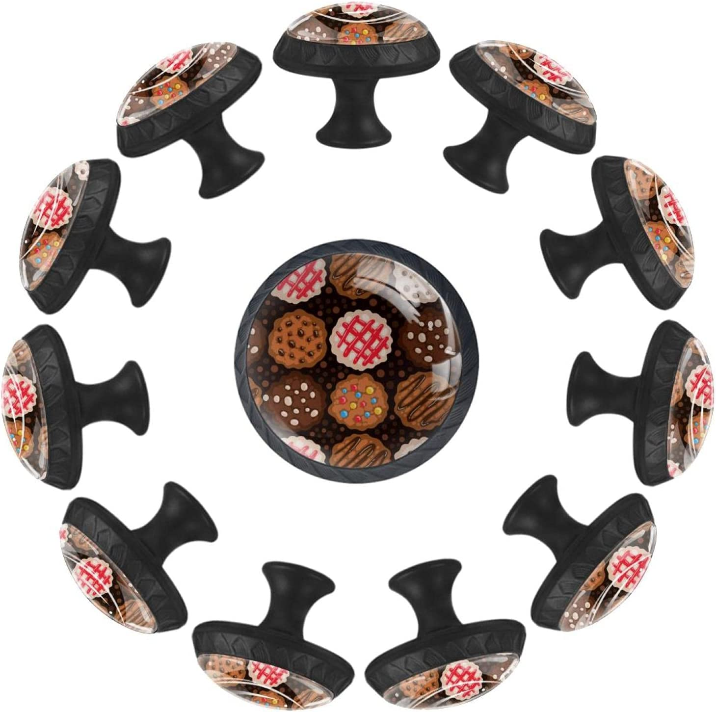 12 Pieces Denver Mall Chocolate Chip Cookies Knobs for Pattern Glass Dresser High quality new